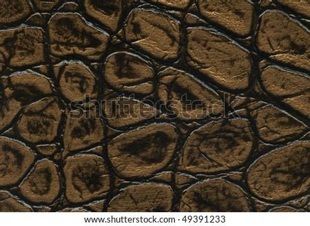 gold and black crocodile leathet texture - stock photo