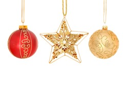 Gold and jeweled Christmas star and baubles isolated against white