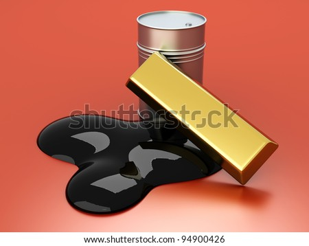 Gold and Oil, two commodities on the stock market. 3D rendered Illustration.