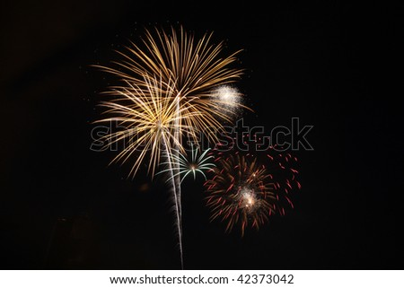 Gold and red fireworks light a black night sky