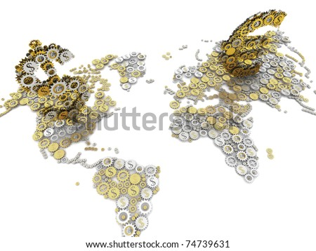 Gold and silver euro and dollar currency sign on world map money mechanism. Euro and dollar sprockets.