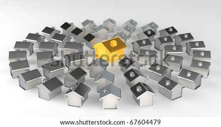 Gold and silver houses representing a model of a city