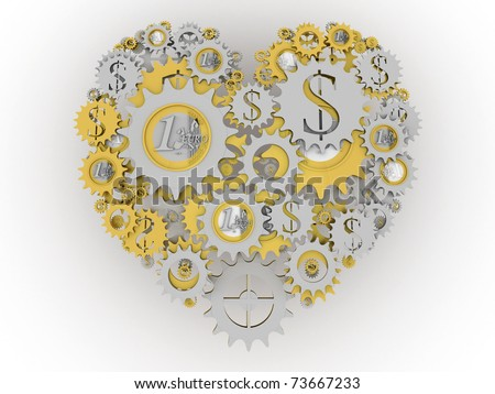 Gold and silver money mechanism in shape of heart. Euro and dollar currency signs.