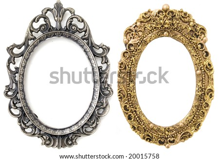 gold and silver oval frames