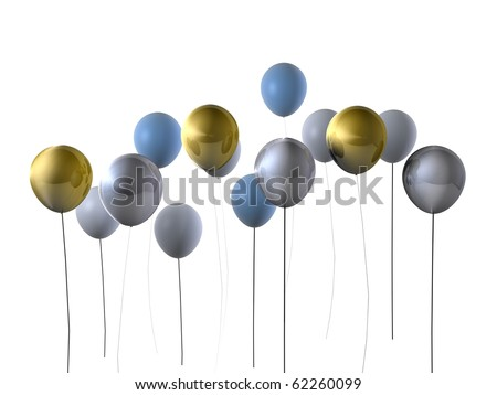 Gold and silver party balloons