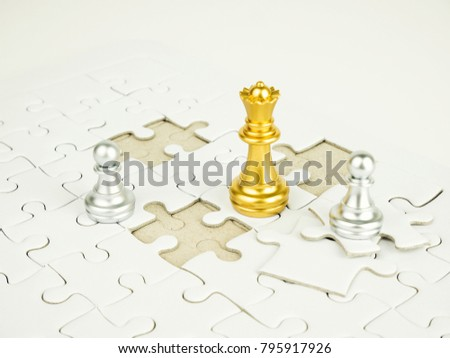 Gold and Sliver chess piece on jigsaw puzzle background, business concept. #795917926