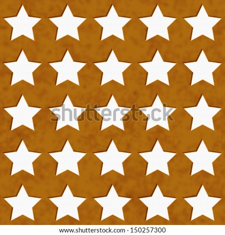 Gold and White Star Fabric with texture Background that is seamless and repeats