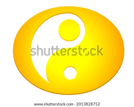 Gold and white yin yang on a white background