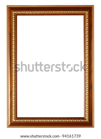 Gold and wood frame on white background