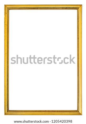 Gold antique gilt frame isolated on white background.  #1205420398