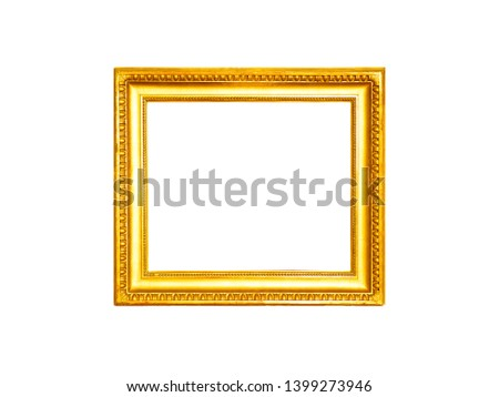 Gold antique picture frame isolated on white background #1399273946