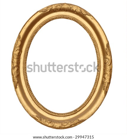 gold antique round frame isolated on white background with