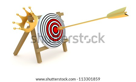 Gold arrow, crown and target, abstract illustration
