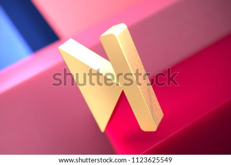 Gold Arrow Step Forward Icon on the Pink and Blue Geometric Background. 3D Illustration of Gold Arrow, Forward, Move Forward, Next, Next Step Icon Set With Color Boxes on the Pink Background.