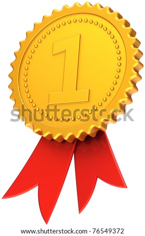 Gold award ribbon first place medal golden with red competition symbol. Number one prize trophy badge. Champion victory sport success icon concept. Detailed 3d render. Isolated on white background