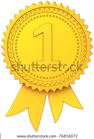 Gold award ribbon medal first place winner. Champion decoration trophy icon classic. Bestseller design element template. Detailed 3d render. Isolated on white background