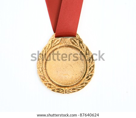 gold award ribbons on white(path in side)