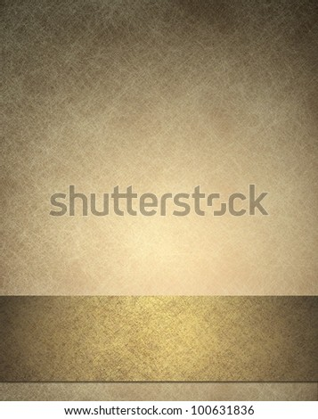 gold background or anniversary or wedding background with gold ribbon or bottom bar layout for web template design, has background texture of  white scratches on vintage wallpaper color