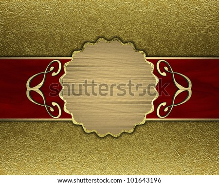 Gold background with a red stripe and patterned circle