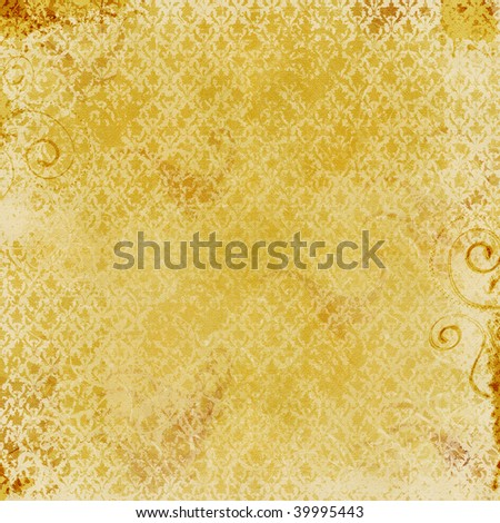 Gold background with Damask print and grunge texture.