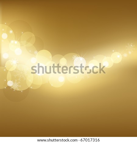 Gold Background With Snowflakes And Stars