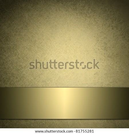 gold background with soft beige and warm brown colors, has metallic gold ribbon banner across bottom, and darkened burnt edges in black