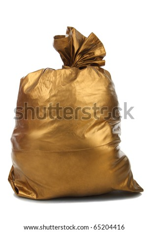 Gold bag isolated over white background
