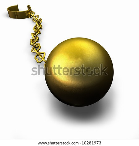Gold Ball and Heart Chain