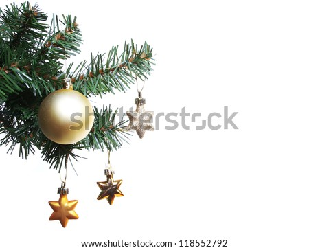 gold ball and stars on Christmas tree branch, isolated on white background