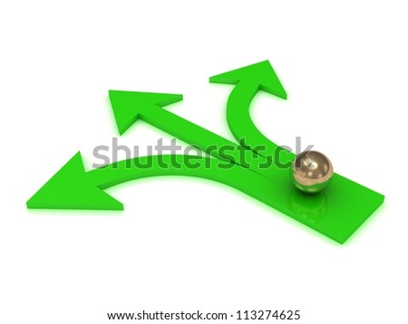 Gold ball at the intersection of three green arrows on white background