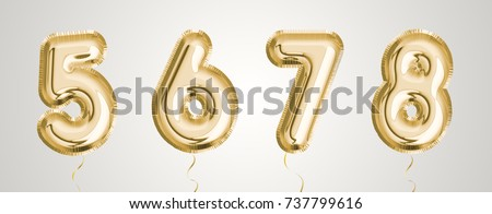 Gold balloon set 5, 6, 7, 8 made of realistic 3d illustration metallic air balloon. Collection of balloon number  ready to use for your unique decoration in several occasion.
