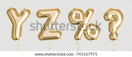 Gold balloon set Y, Z, %, ? made of realistic 3d render air balloon. Collection of balloon alphabet with Clipping path ready to use for your unique decoration with several concept idea in any occasion