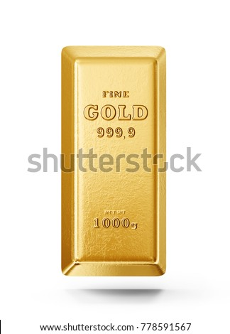 gold bar isolated on a white background. 3d illustration