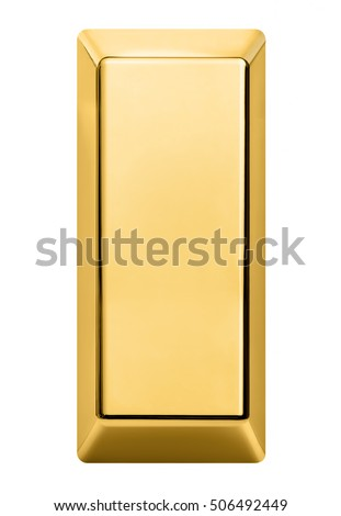 gold bar isolated on white background. Gold bar top view. #506492449