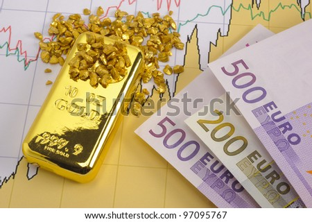 gold bar, nuggets and euro banknotes on financial chart