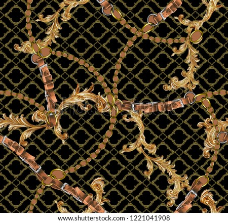 Gold baroque belt chain Textile design. seamless  background pattern.