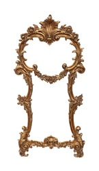 Gold baroque frame with angel statues ornaments