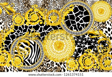 Gold baroque, gold flowers, gold ornaments, giraffe pattern with leopard pattern