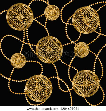 Gold Baroque Ornament. Golden shiny background, chain, baroque, geometric