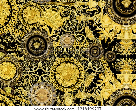 Gold Baroque Yellowish Black White Background Twist Pattern