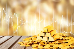 Gold bars and coins on backgrouund
