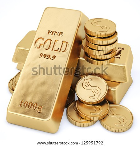 gold bars and gold coins. Isolated on white.
