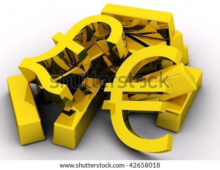 Gold bars and golden pound & euro sign on white background.