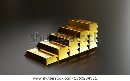 Gold bars are arranged in higher layers to communicate the higher value of gold, with investments, investments, savings and financial success.3D render