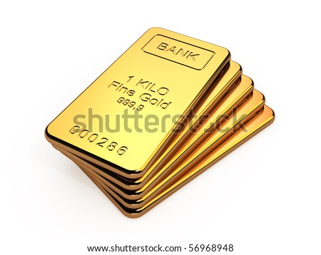 Gold bars in a stack isolated on white background