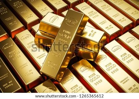 Gold bars in bank vault. Storage. 3d render