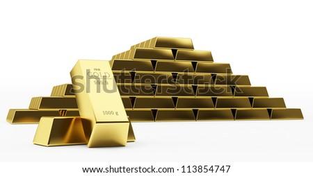 gold bars isolated on white background
