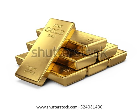 Gold Bars isolated on white - 3d render