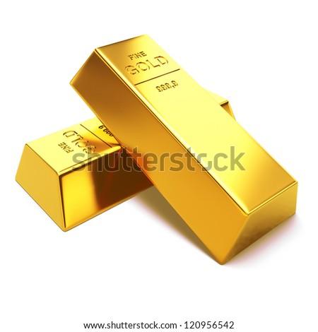 Gold bars on white background. 3d render illustration