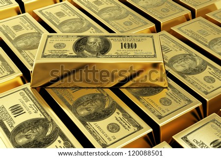 gold bars with dollar stamp. 3d rendered image